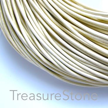 Cord, leather, cream, 2mm. Sold per 2-meter section