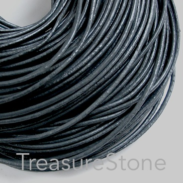 Cord, leather, dark grey 1.5mm. Sold per 2-meter section
