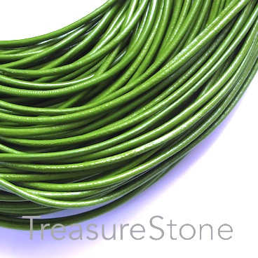 Cord, leather, green, 2mm. Sold per 2-meter section