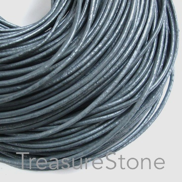 Cord, leather, grey, 2mm. Sold per 2-meter section