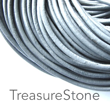 Cord, leather, grey, 3mm. Sold per 2-meter section