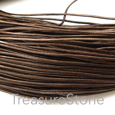 Cord, leather, metallic copper, 1mm. Sold per 2-meter section