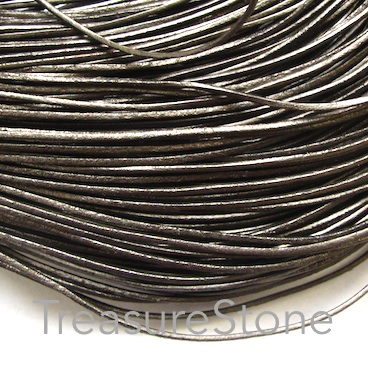 Cord, leather, metallic grey, 1mm. Sold per 2-meter section