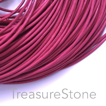 Cord, leather, pink, 2mm. Sold per 2-meter section