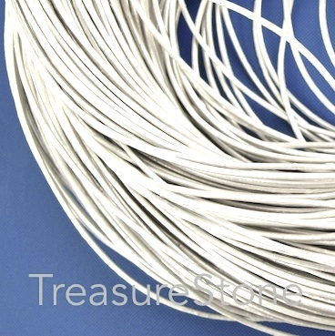 Cord, leather, silver, 1mm. Sold per 2-meter section