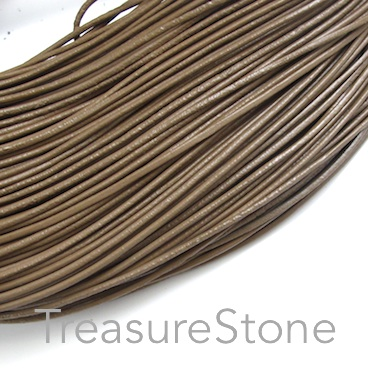 Cord, leather, tan, 1.5mm. Sold per 2-meter section