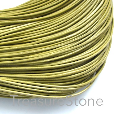 Cord, leather, yellow green, 1.5mm. Sold per 2-meter section