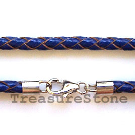 Cord, leather w sterling silver clasp, connector, blue,18 inch