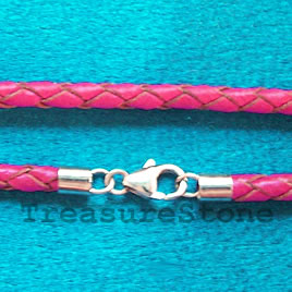 Leather cord w sterling silver clasp,connector,cranberry,18 inch