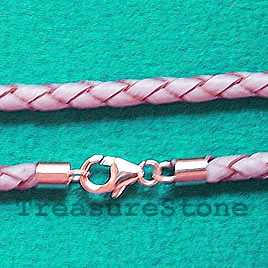 Cord, leather w sterling silver clasp, connector, violet,18 inch
