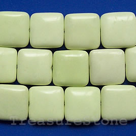 Bead, lemon jasper, 16mm flat square. 16 inch strand.