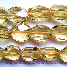 Bead, lemon quartz, about 18mm faceted nugget. 15-inch strand.