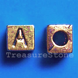 Bead, antiqued gold-finished, 7x6mm Letter A. Pkg of 10.