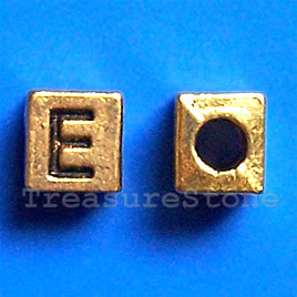 Bead, antiqued gold-finished, 7x6mm Letter E. Pkg of 10.