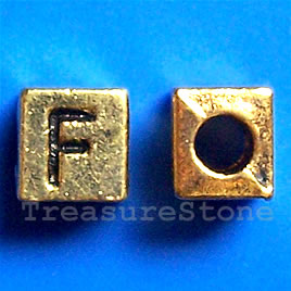 Bead, antiqued gold-finished, 7x6mm Letter F. Pkg of 10.