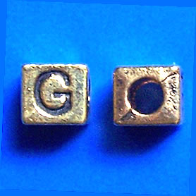 Bead, antiqued gold-finished, 7x6mm Letter G. Pkg of 10.