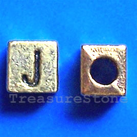 Bead, antiqued gold-finished, 7x6mm Letter J. Pkg of 10.
