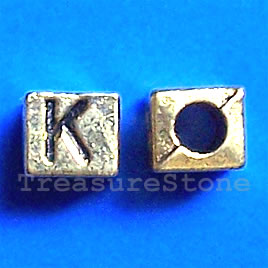 Bead, antiqued gold-finished, 7x6mm Letter K. Pkg of 10.