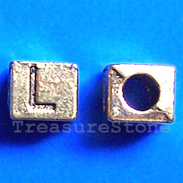 Bead, antiqued gold-finished, 7x6mm Letter L. Pkg of 10.