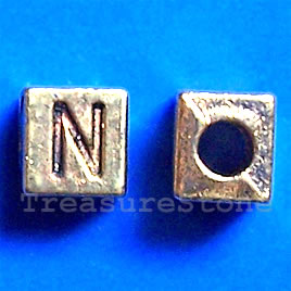 Bead, antiqued gold-finished, 7x6mm Letter N. Pkg of 10.