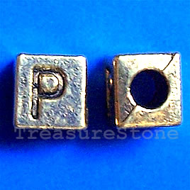 Bead, antiqued gold-finished, 7x6mm Letter P. Pkg of 10.