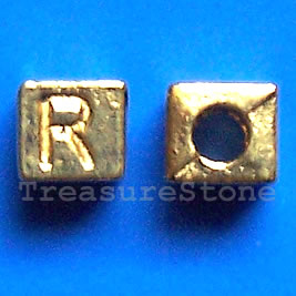 Bead, antiqued gold-finished, 7x6mm Letter R. Pkg of 10.