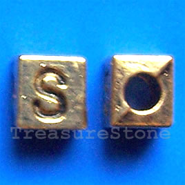 Bead, antiqued gold-finished, 7x6mm Letter S. Pkg of 10.