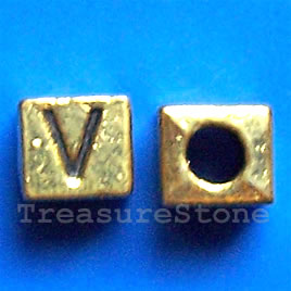 Bead, antiqued gold-finished, 7x6mm Letter V. Pkg of 10. - Click Image to Close