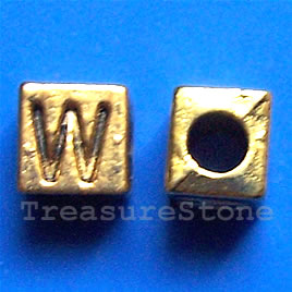 Bead, antiqued gold-finished, 7x6mm Letter W. Pkg of 10.