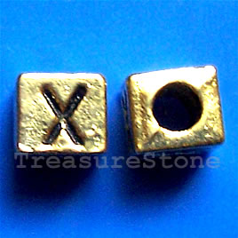 Bead, antiqued gold-finished, 7x6mm Letter X. Pkg of 10.