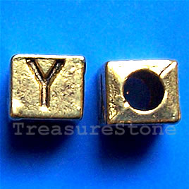 Bead, antiqued gold-finished, 7x6mm Letter Y. Pkg of 10.