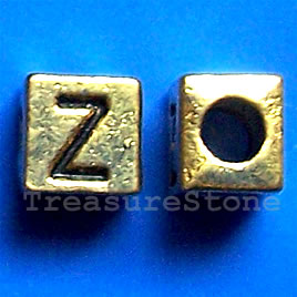 Bead, antiqued gold-finished, 7x6mm Letter Z. Pkg of 10.