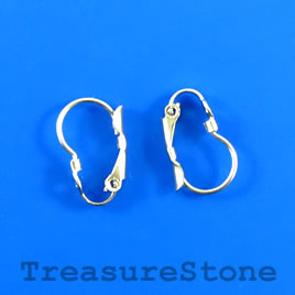 Earwire, stainless steel, oval leverback with open loop. 2 pairs