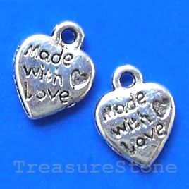 Pendant/charm, silver-finished,10x13mm heart. Pkg of 18.