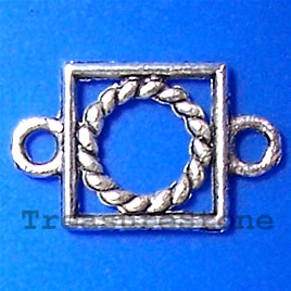Link, antiqued silver-finished, 9x14mm. Pkg of 25.