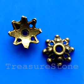 Bead cap, antiqued brass finished, 10mm. Pkg of 20.