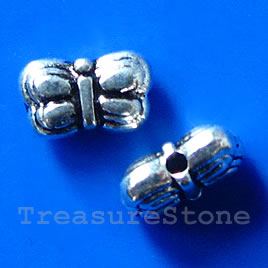 Bead, antiqued silver-finished, 9x5x3mm butterfly. Pkg of 20.