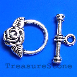 Clasp, toggle, antiqued silver-finished, 15x19mm. pkg of 12.