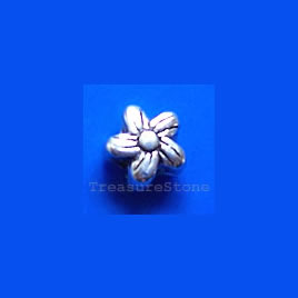 Bead, antiqued silver-finished, 6mm flower. Pkg of 25.