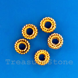 Bead, antiqued gold-finished, 4mm ring. Pkg of 30.