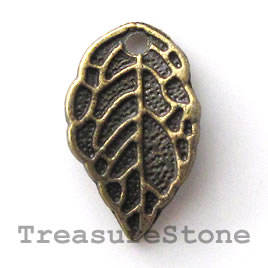Charm, silver-finished, 10x12mm leaf. Nickel Free. Pkg of 15.