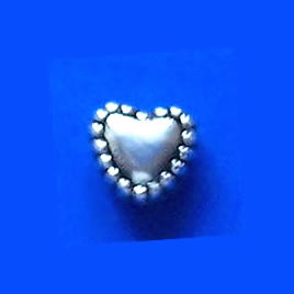 Bead, antiqued silver-finished, 6mm heart. Pkg of 25.