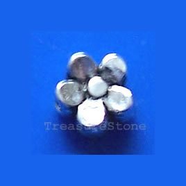Bead, antiqued silver-finished, 5mm flower. Pkg of 30.