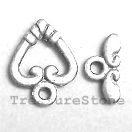 Clasp, toggle, antiqued silver-finished,10/11mm heart. 15 pairs.