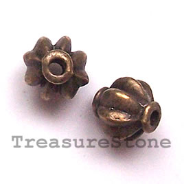 Bead, antiqued brass finished, 8mm. Pkg of 14.