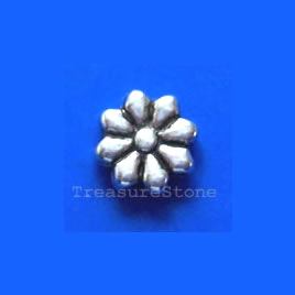 Bead, antiqued silver-finished, 9mm flower. Pkg of 20.