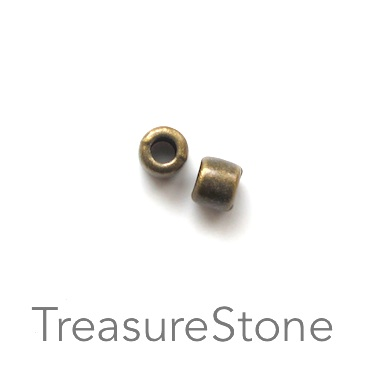 Bead, antiqued brass finished, 4x5mm tube. Pkg of 22