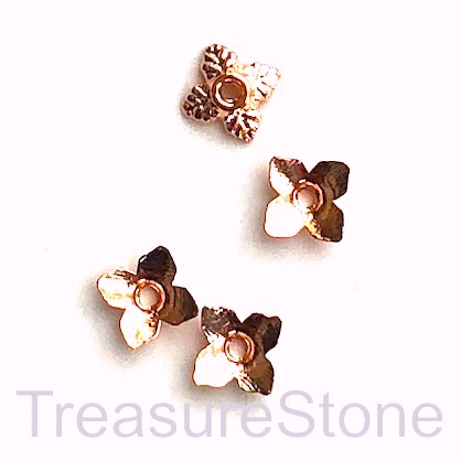Bead cap, rose gold finished, 7mm. Pkg of 25