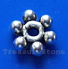 Bead, antiqued Silver Finished, 8mm beaded rondelle. Pkg of 20