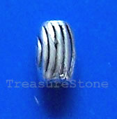 Bead, antiqued silver-finished, 3x5mm tube. Pkg of 25.